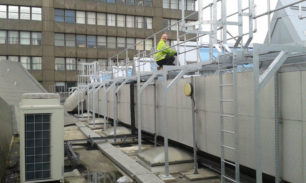 Walkway with access ladders, London Metropolitan University