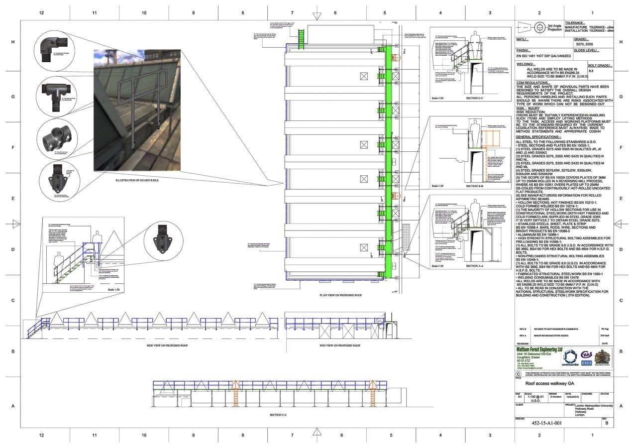 Walkway with access ladders, London Metropolitan University CAD Drawing