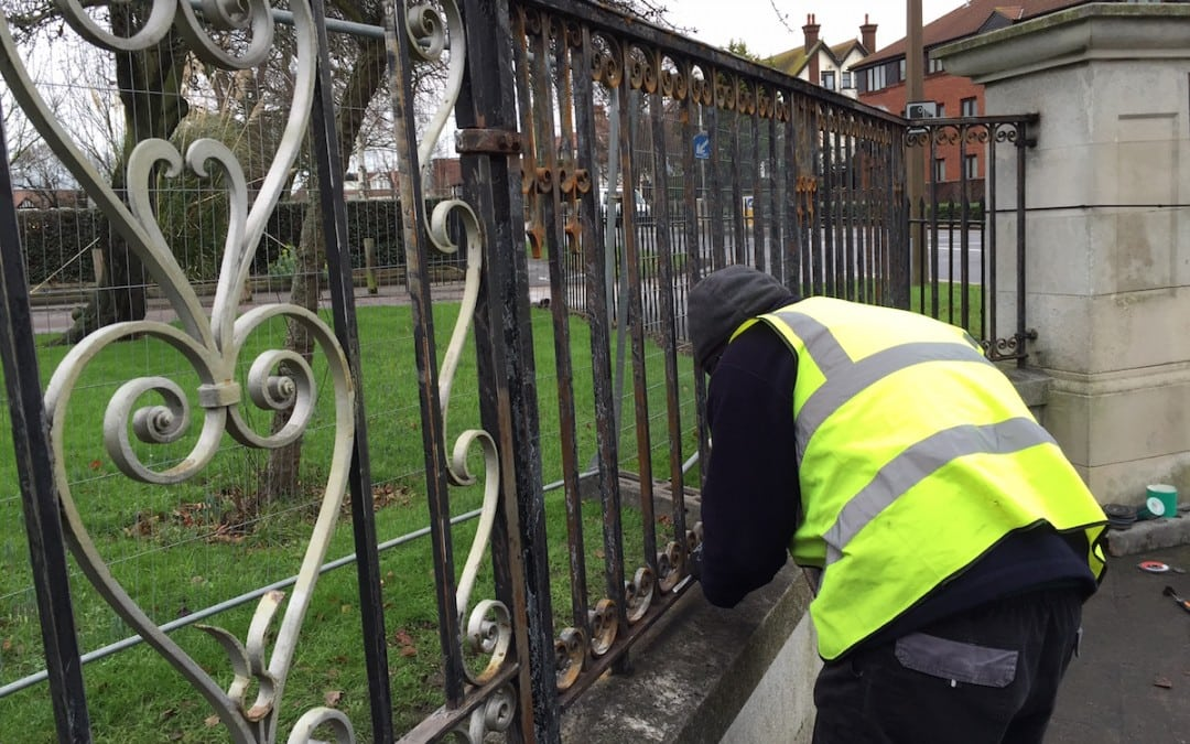 Restoration of Wrought Iron Metal Gates & Railings, Chalkwell Park, Southend-on-Sea Essex