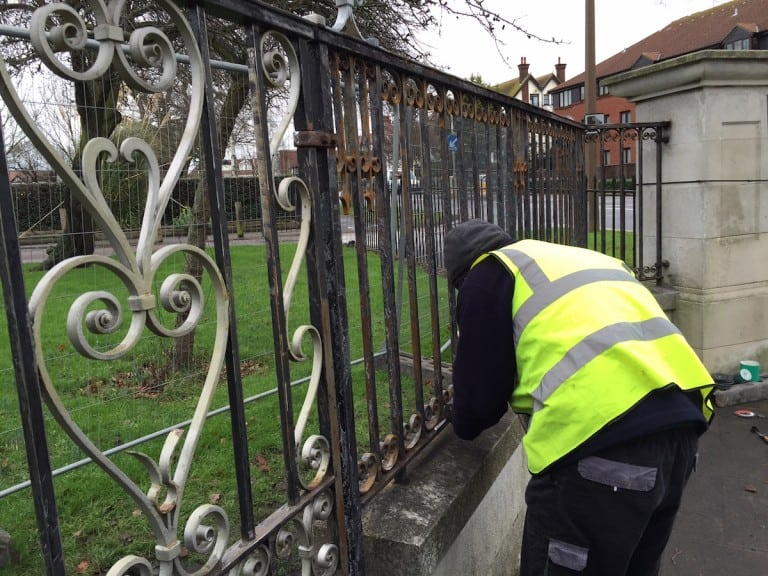 Restoration of Wrought Iron Metal Gates & Railings, Chalkwell Park, Southend-on-Sea