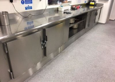 Stainless Steel Kitchen Plinths for Bancroft's School, Woodford Green, Essex 1