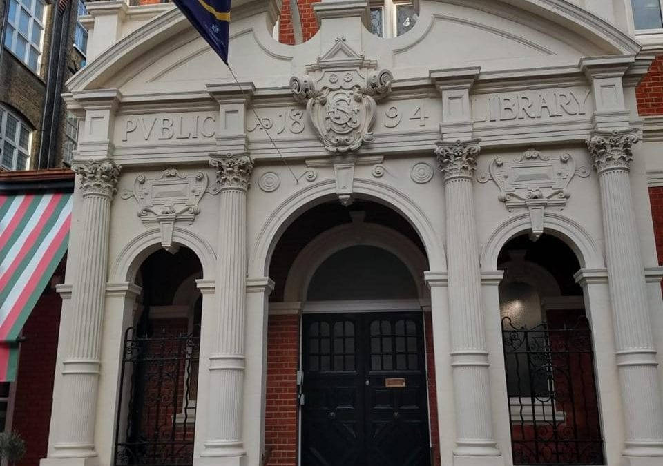 Brass Handrail, Mayfair Library, London W1